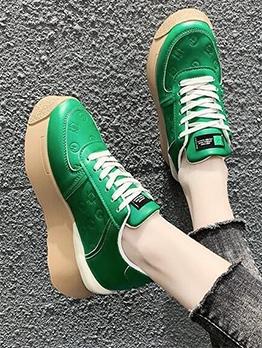 Vintage Solid Lace Up Elevator Sport Shoes
