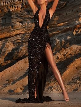New Arrival V Neck Black Halter Party Dresses