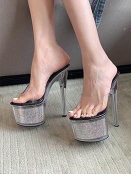 Party Catwalk Clear Rhinestone Platform Heel Slippers