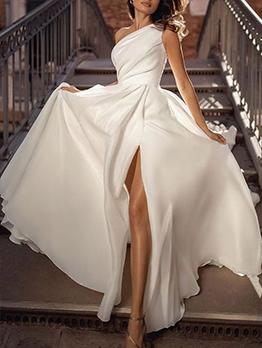 One Shoulder White Elegant Evening Maxi Dresses