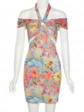 European Style Sexy Print Halter Neck Summer Dress