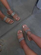 Women Rhinestone Fashion Beach Slide Slippers