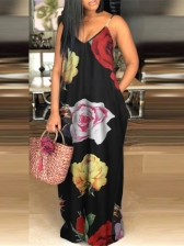 Fashion V Neck Printing Backless Baggy Maxi Dress