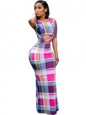 Casual Striped Plaid Bodycon Maxi Dresses