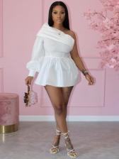 One Shoulder Solid Long Sleeve Shirt Dress
