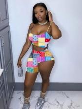 U Neck Color Block Crop Top With Pants