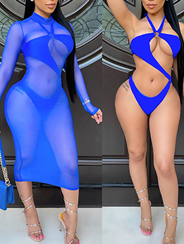 Sexy Solid One Piece Swimsuit And Gauze Dress