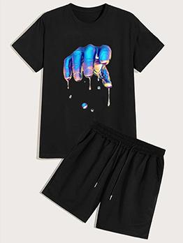Hip-Hop Printing Loose Tees With Short Pants Printing