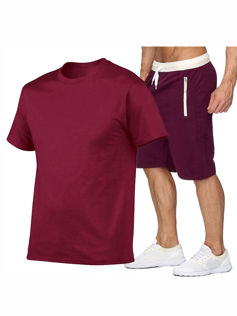 Pure Color Crew Neck Tees With Half Pants