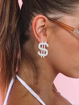 Rhinestone Dollar Pattern Design Trendy Earrings