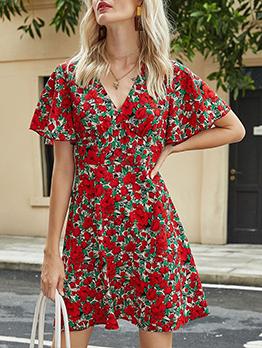Casual V Neck Print Short Sleeve Dress