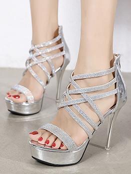 Sexy Rhinestone Peep Toe Party Heel Sandals