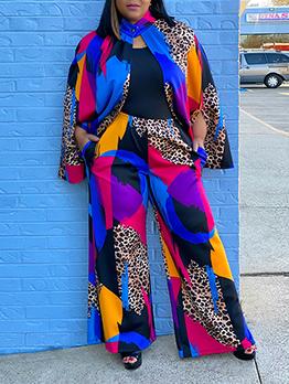 Fashion Leopard Long Sleeve Plus Size Pants Set