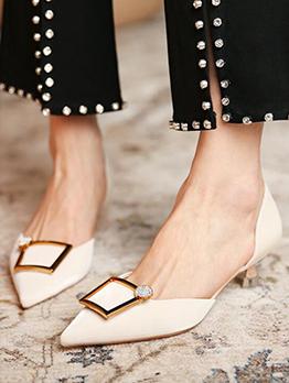 Pointed Toe Fashion Women Slip One Heels