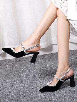 Faux-Pearl Suede Chunky Slip On Heels