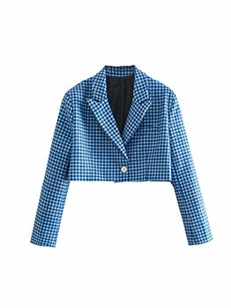 Fashion Plaid Single-Breasted Short Blazers