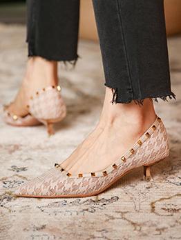 Rivet Gauze Upper Material Vintage Slip On Heels