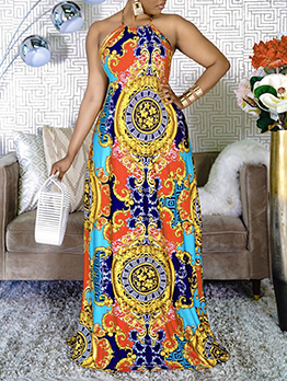 Fashion Register Print Tie Wrap Maxi Dress