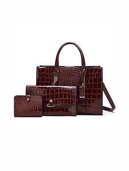 Fashion Crocodile High Capacity 3 Piece Handbags Set
