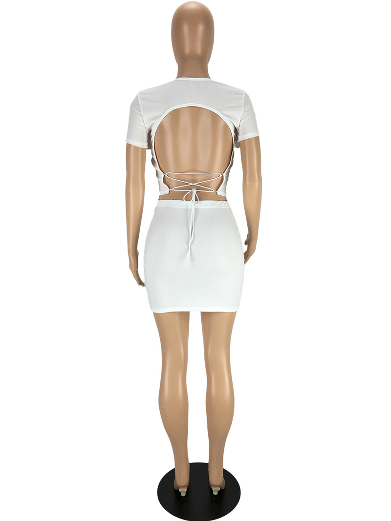 Sexy Solid Tie-Wrap Backless 2 Piece Outfit
