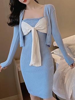 Contrast Color Bow Decor Two Piece Bodycon Dress