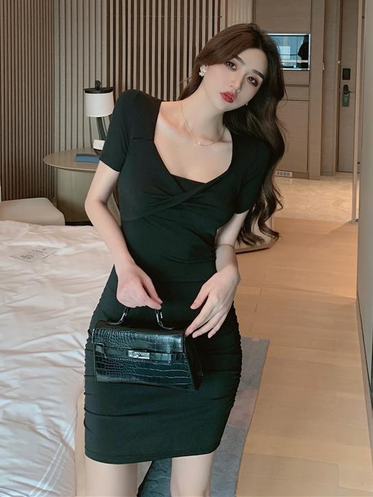 Pure Color V Neck Simple Short Sleeve Dress