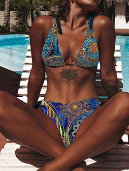 Alluring Chic Print Tie-Wrap 2 Piece Swimsuit
