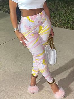Multicolored Skinny Long Pants For Women