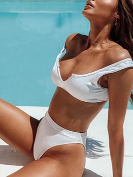 Solid Color High Waist V Neck Tank Bikini Set