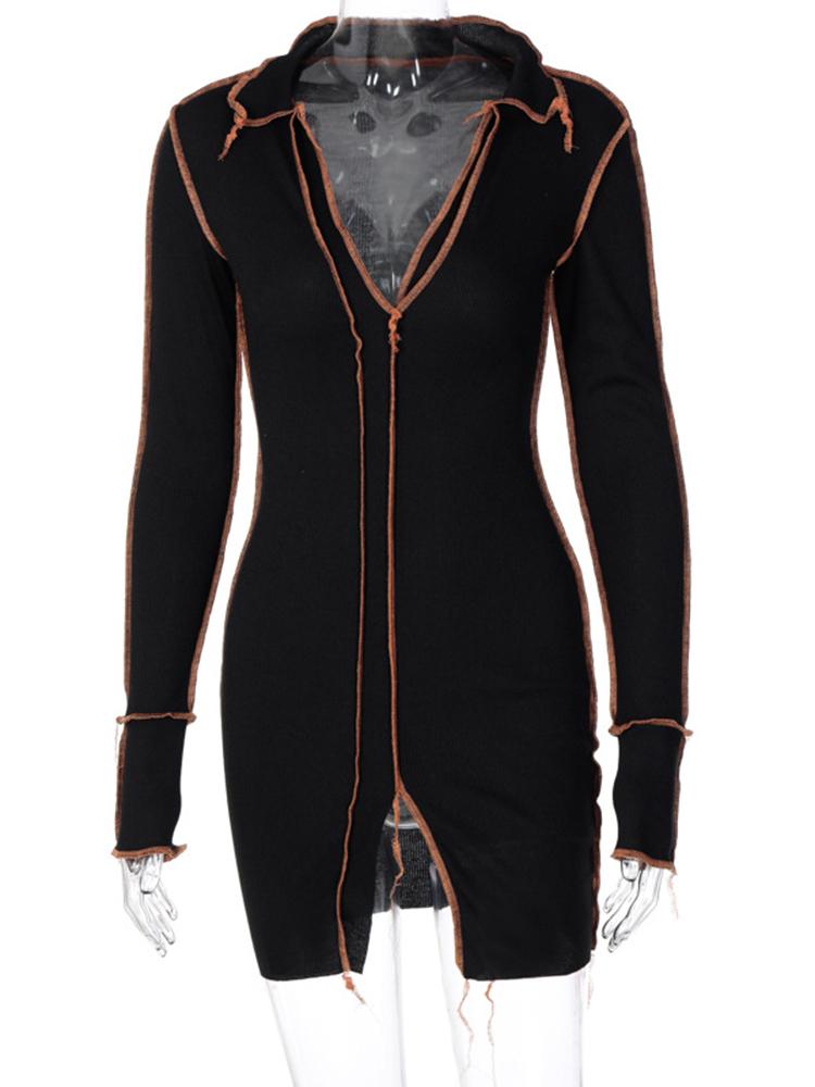 V Neck Latest Style Long Sleeve Sheath Dresses