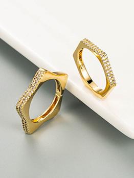 Fashion Simple Geometry Zircon Ring Opening Adjustable