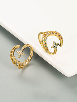 Moon Cross Design Fashion Zircon Unisex Ring