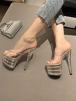 Transparent Sexy Nightclub Platform Heel Slippers