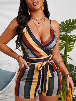 V Neck Contrast Color Striped Romper For Women