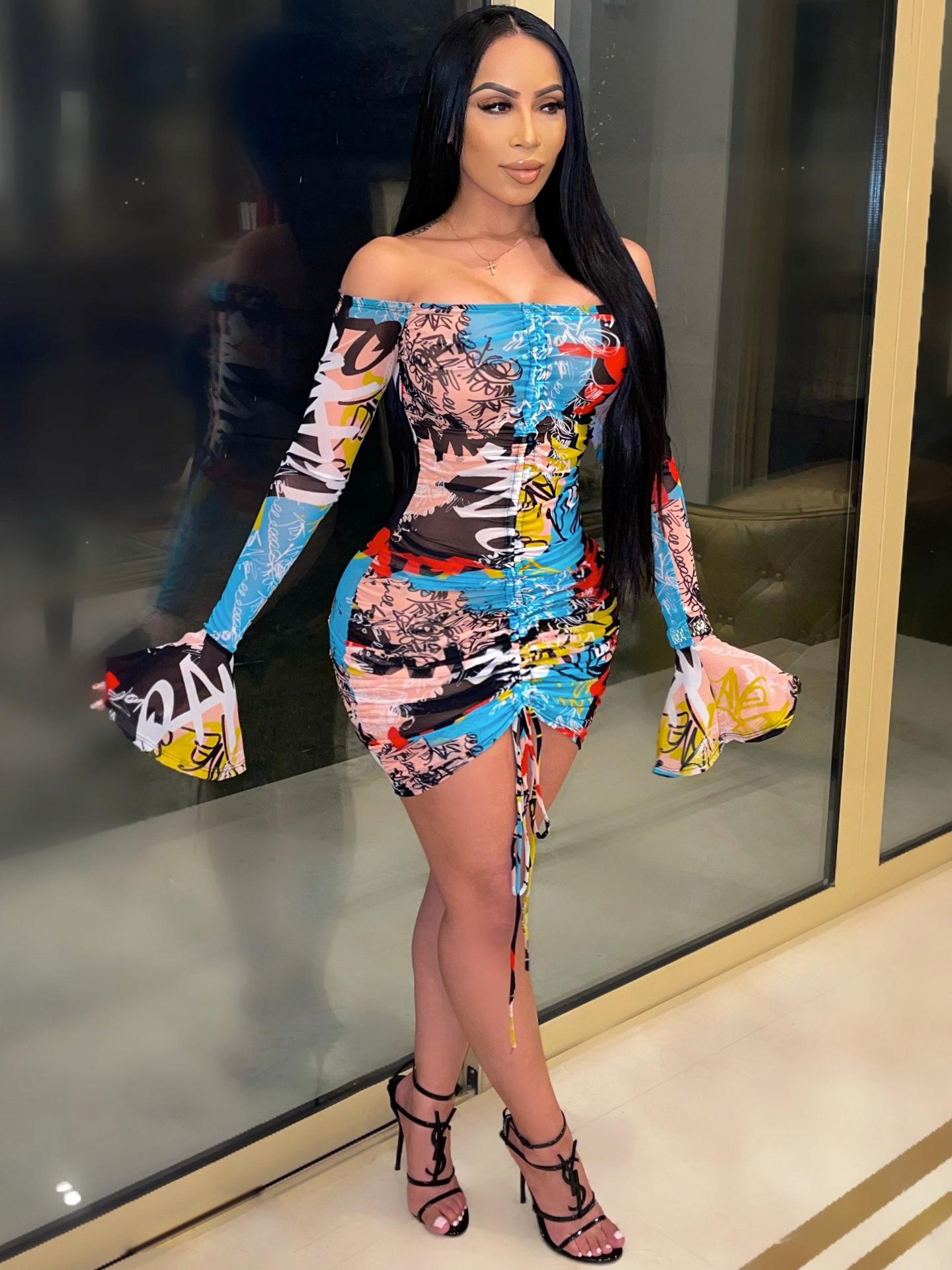 Seductive Multicolored Print Drawstring Long Sleeve Dress