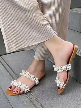 Simple Fashion Faux-Pearl Women Slide Slippers