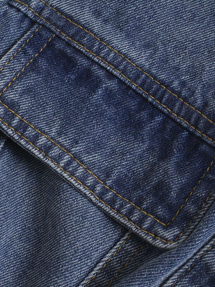 Fashion Solid Turndown Collar Denim Blouse