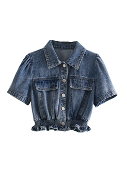 Fashion Solid Turndown Collar Denim Blouse