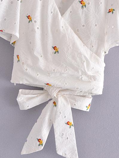 Summer V Neck Short Sleeve Blouse