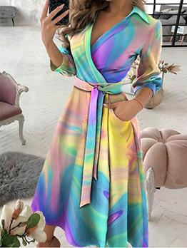 Fashion Long Sleeve V Neck Novelty Print Maxi Dresses