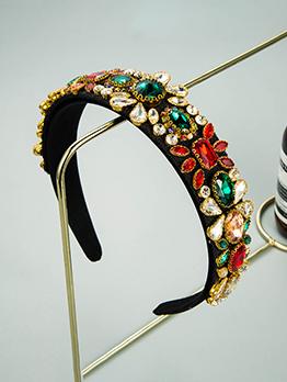 Baroque Vintage Colourful Glass Drill Hair Hoop