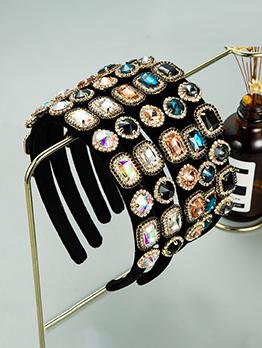 Vintage Style Black Flannelette Rhinestone Hair Hoop