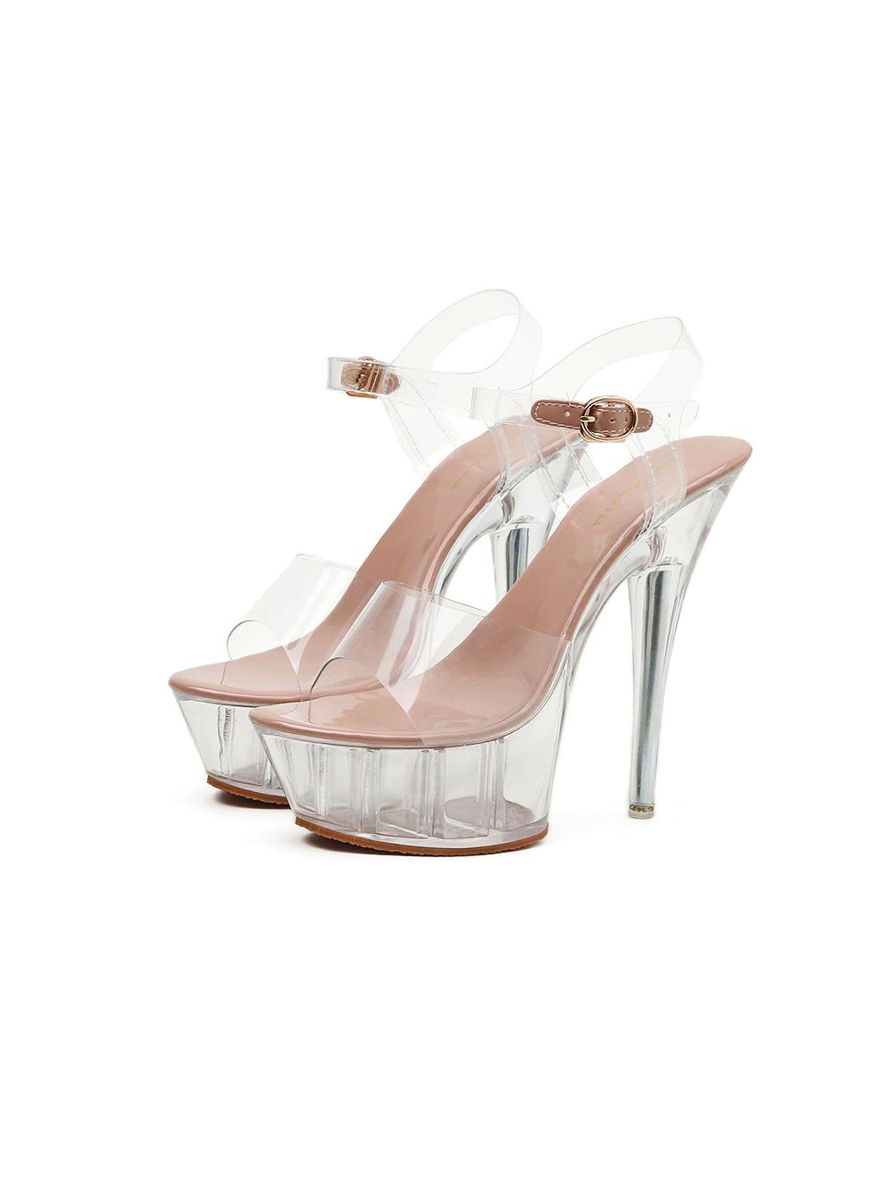 Fashion Transparent Stiletto High Heels Sandals