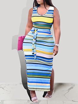 Colorful Print Striped Tie-Wrap Slit Maxi Dress