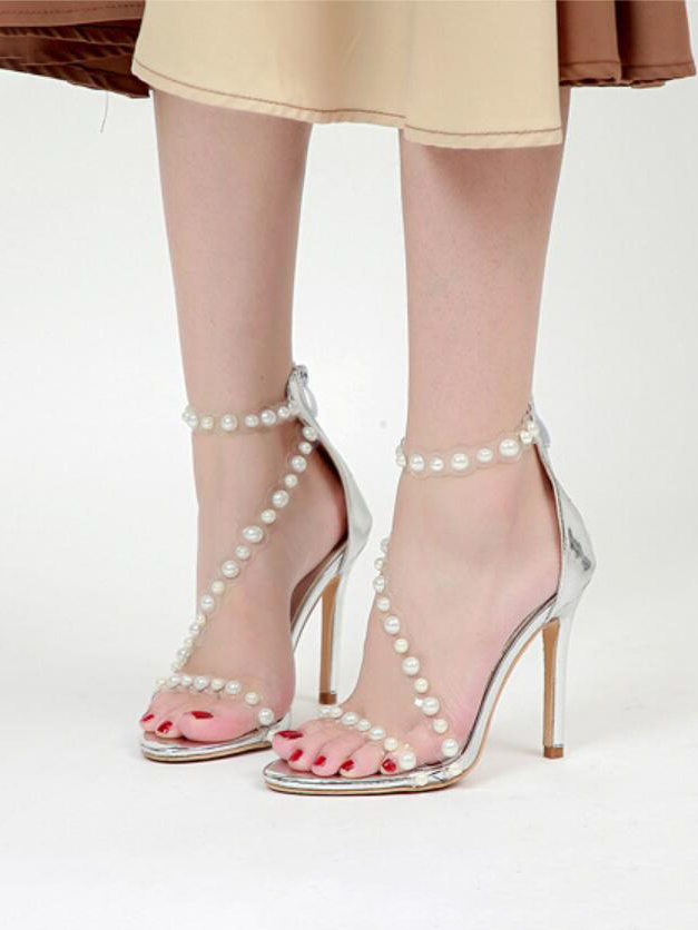 Summer New Arrival Faux-Pearl Heel Sandals