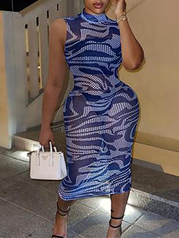 Breathable Gauze Fitted Mock Neck Sleeveless Maxi Dresses