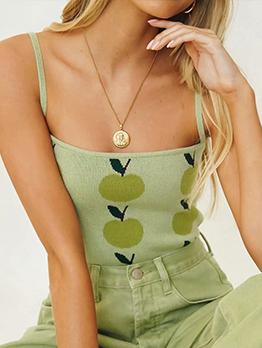 Summer Apple Knitting Sleeveless Tank Top