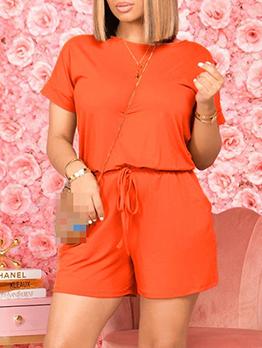 Simple Design Solid Short Sleeve Romper For Women
