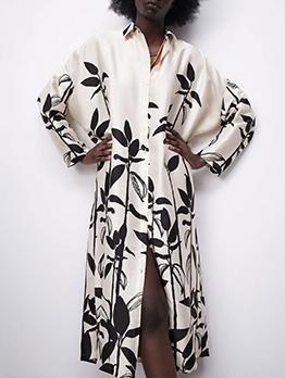 Fashion Printed Button Up Turndown Collar Maxi Dresses