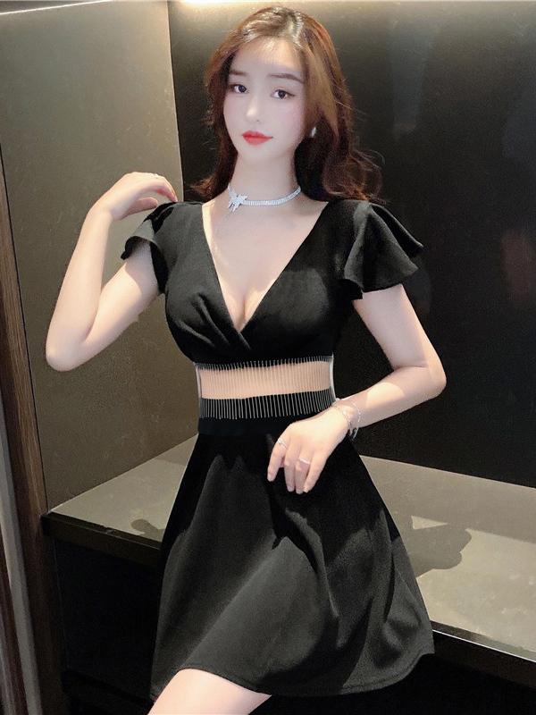 V Neck Ruffle Sleeve Patchwork Ladies Dress